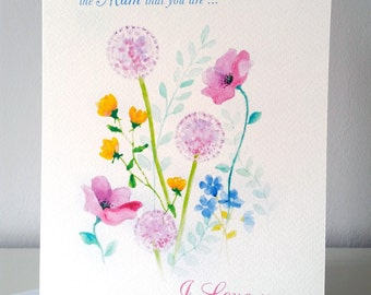 Floral Bouquet... design greetings card from my original watercolour design - personalised printing on cover and inside