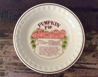 Vintage 1970s Hankook Ceramic Pumpkin Pie Recipe Deep Dish Pie Plate