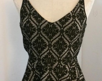 Vintage Inspired Black and White Backless Top