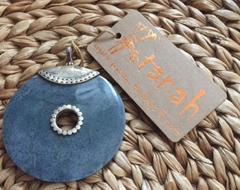 Coral Grey Shell Pendant w .925 Silver
