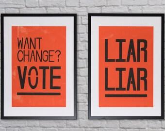 Handprinted Political Poster