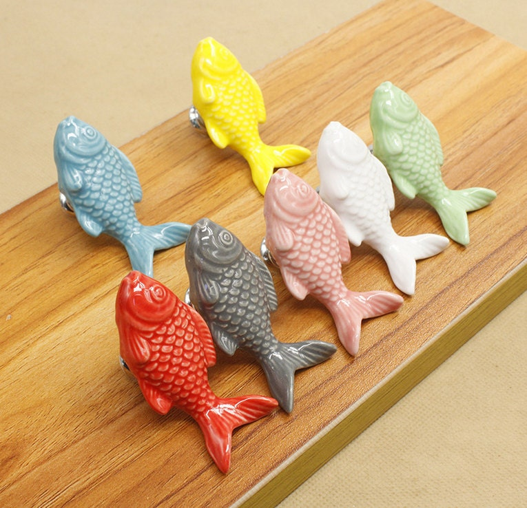 Fish ceramic knobs dresser knob drawer pulls handles for Fish drawer pulls