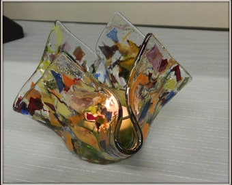 Fused glass candle holder OOAK Automn warm colors  Art Glass