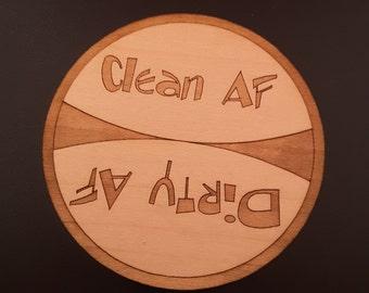 Clean Dirty AF Dishwasher Magnet v2-Funny Magnet - Kitchen Magnet - Cute Magnet - Wood Magnet - Laser Cut Magnet Clean Magnet - Dirty Magnet