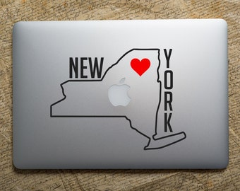 New York Decal Sticker - NY silhouette, New York Vinyl Decal for Car, NY love heart sticker for laptop computer, Window Decal, truck decal