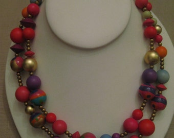 1980's Double Strand Hand Painted Wood Beaded Graduating Necklace.