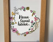 Home Sweet Home 5x7 print .. The perfect gift for any home..Designed by Corin Beth Designs