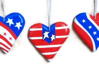 Memorial Day Heart Ornament Set