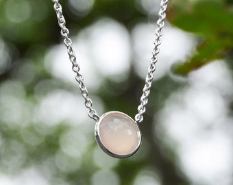 Pink Chalcedony Necklace | Crystal Necklace | Pink Necklace | Boho Necklace | Chalcedony Necklace | Pink Chalcedony | Sterling Silver