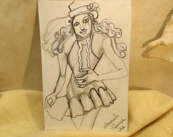 Carneval girl, original pencil w acrylic high lights