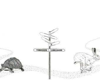 The Tortoise and The Hare - Race to Yorkshire - card OR mounted print - Aesop's fable / Lancashire