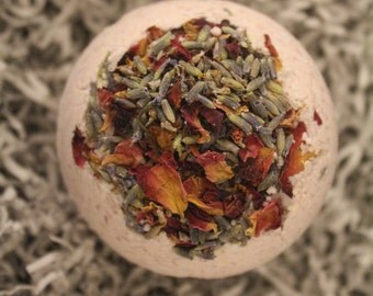 Organic Lavender Chamomile Bath Bomb- Lavender Fragrance- Lavender Buds- Rose Petals- Spa