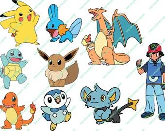 Pokemon svg, dxf, eps, ai, jpg, png file set - Instant Download - Pokemon Cut File - Clipart - Cricut Explorer - Silhouette Cameo