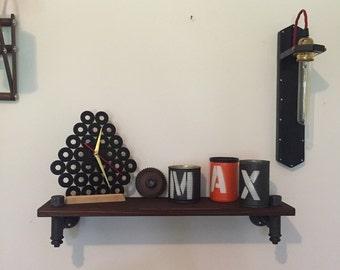 Industrial Vintage style shelf in hydraulic hoses with Walnut wood shelf.