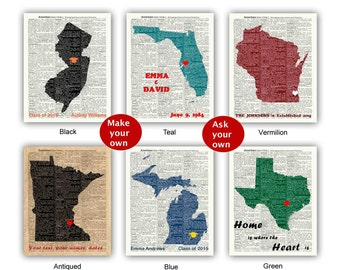 Wedding Gift, Ask for your State Print, Established Sign Poster, Any State Print, Personalized  State, Make your Own State Map, State Gift