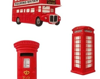 Fridge Magnets UK Souvenir Gift Present Bus Post Box Telephone Box