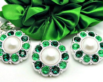 WHITE Pearl Buttons W/ Emerald Green And Bright Green Surrounding Rhinestones Bridal Bouquets Button Bouquets 25mm 2997 09P 6 10R