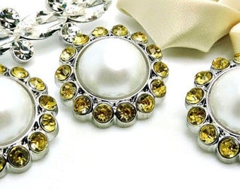 WHITE Pearl Rhinestone Acrylic Buttons W/ Amber Yellow Surrounding Rhinestones Bridal Button Brooch Bouquet Coat Buttons 26mm 3185 09P 30R