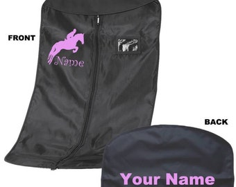Personalized Horse Lover Garment Bag with Printed Equestrian Name front and back.  H4  Competition Clothing - Personaliszd by Bag Base