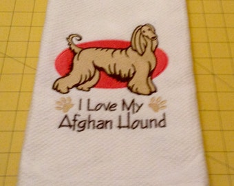 I Love My Afghan Hound Embroidered Kitchen Hand Towel, Williams Sonoma All Purpose, 100% cotton & Extra Large 20 x 30.