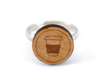 Coffee Cup Ring, Wooden Ring, Gift For Him or Her, Wedding Gifts, Groomsman Gifts, and Personalized