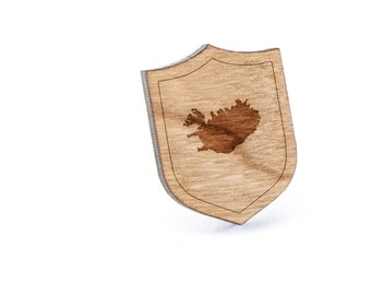 Iceland Lapel Pin, Wooden Pin, Wooden Lapel, Gift For Him or Her, Wedding Gifts, Groomsman Gifts, and Personalized