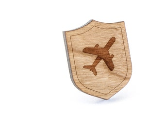 Jumbo Airplane Lapel Pin, Wooden Pin, Wooden Lapel, Gift For Him or Her, Wedding Gifts, Groomsman Gifts, and Personalized