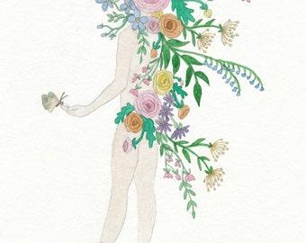 "Flower Spirit Watercolor 5""x7"" Fine Art Print"