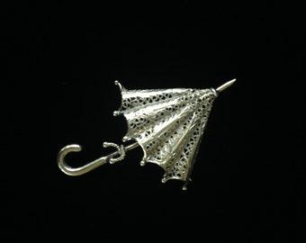 Vintage Silver Filigree Umbrella Brooch- Silver Filigree Jewelry- Umbrella Brooch-