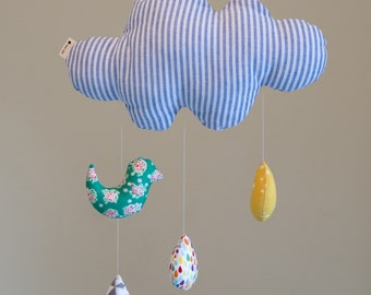 20%OFF, Blue cloud mobile S, Baby mobile, Nursery mobile - rain drop and bird
