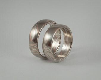 """Partner rings / wedding rings """"Mokume Gane"""" gold, silver, Palladium"""