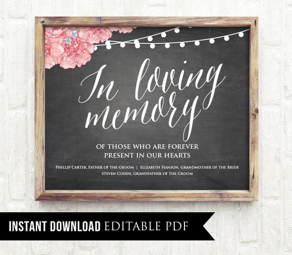 50% Off, Editable Wedding Sign, In Loving Memory, Printable, Editable PDF Template, Personalize Names, Instant Download, Rustic Chalkboard