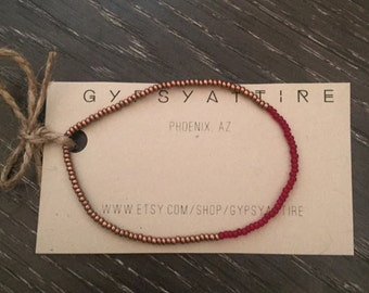 NEW Bronze and Red Dainty Bracelet