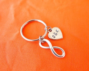 Custom Infinity Keychain, forever, love you forever, forever and always, initials, stamped heart, infinity keychain, infinity, Valentines