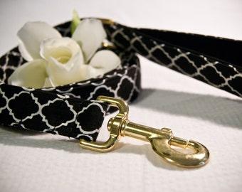 Black and White Quatrefoil Leash