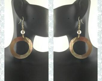 Swarovski Pearl and Blush Shell Dangle Earrings