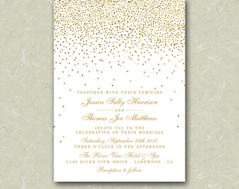 "5"" x 7"" Vintage Glam Gold Confetti White Wedding Invitation Digital File"