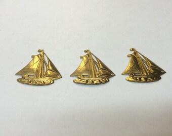 Brass Stamping - Sailboat - Set of 3