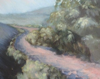 Original oil painting, spring, countryside, country lane, trees, nature, hills, landscape, scotland, stroll