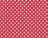 Riley Blake Small Dots, White on Red, fabric by the yard