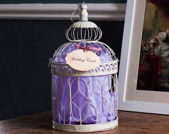 Baroque Luxury Wedding Post Box - Ivory Cream Bird Cage with Tag and Ribbon - Mailbox Card Box - Rococo Renaissance Versailles Louis XIV