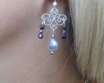 Silver Chandelier & Lavender Pearl Earrings, SE-66.  Bracelet available.