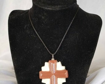 Simple, cross ceramic pendant
