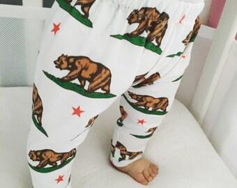 Handmade Baby Leggings - California Bear Flag Leggings - Born in California Baby Leggings - Boy Leggings- Girl Leggings - Toddler Leggings