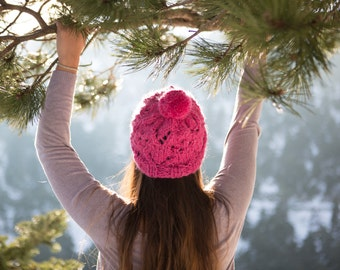 Slouchy Beanie Hat Pink