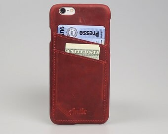 "For IPhone 6 / 6S Snap-On Case With Credit Card Slots In Vintage Red Leather Cover Anticcase ""Orion Cover CC"" OCCC-G4-IP6"