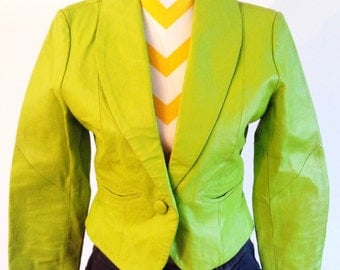 The Metro - lime and hot green leather jacket