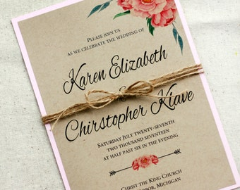 Blush Pink Rustic Boho Wedding Invitation, Peony Wedding Invitation, Rustic Wedding Invitations blush pink, Boho invitations, kraft and pink