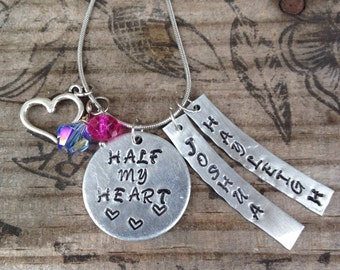 Half my heart~Hand Stamped~Personalized jewelry~Mothers necklace