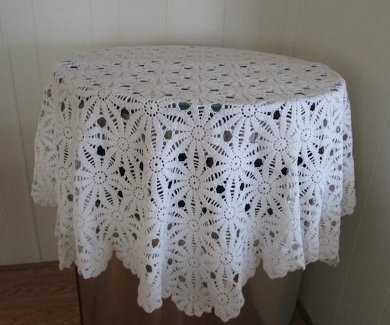 Vintage Hexagon Shape White Hand Crochet Tablecloth Heavy
